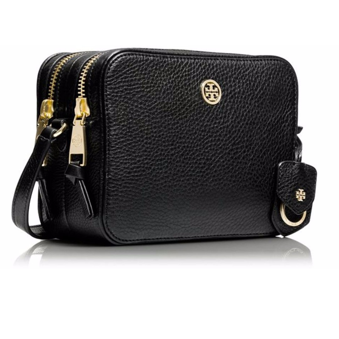 f086ba03bc3c Authentic Tory Burch 32149961 Pebbled Leather Double Zip Crossbody ...