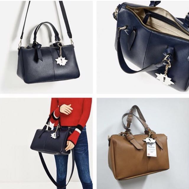 Authentic Zara Bowling bag with handle detail.