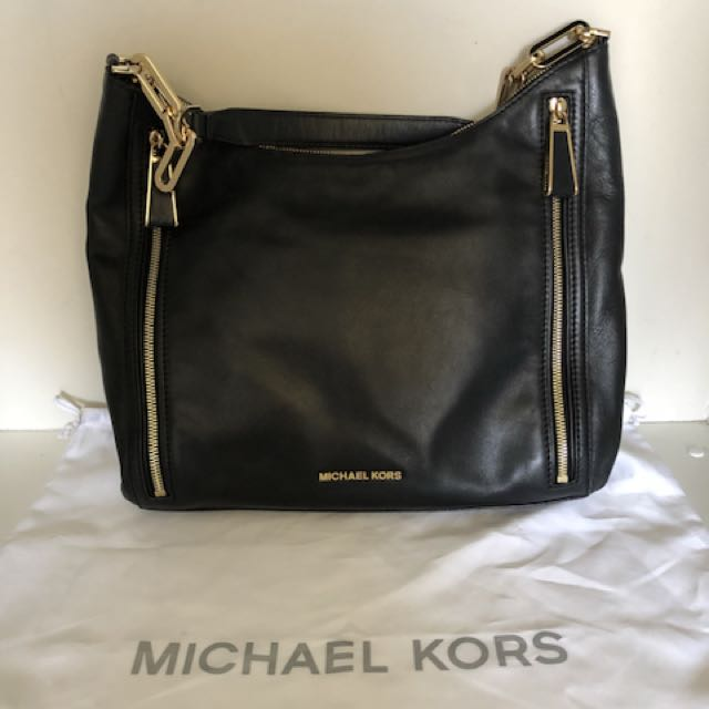 AUTHENTIC/ORIGINAL MICHAEL MICHAEL KORS MATILDA LARGE SHOULDER BAG BLACK