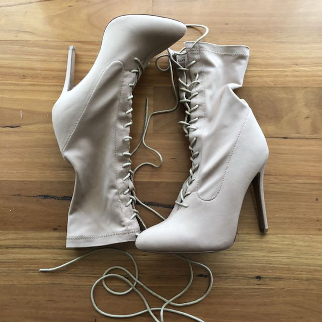 Beige Lace Up Sock Boots