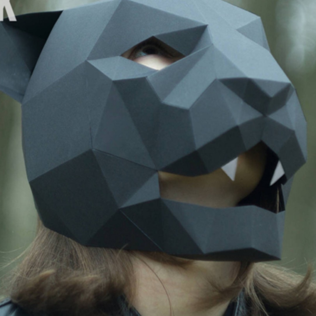 Black Panther 3D POLYGON ANIMAL PAPER MASK Design Craft Others
