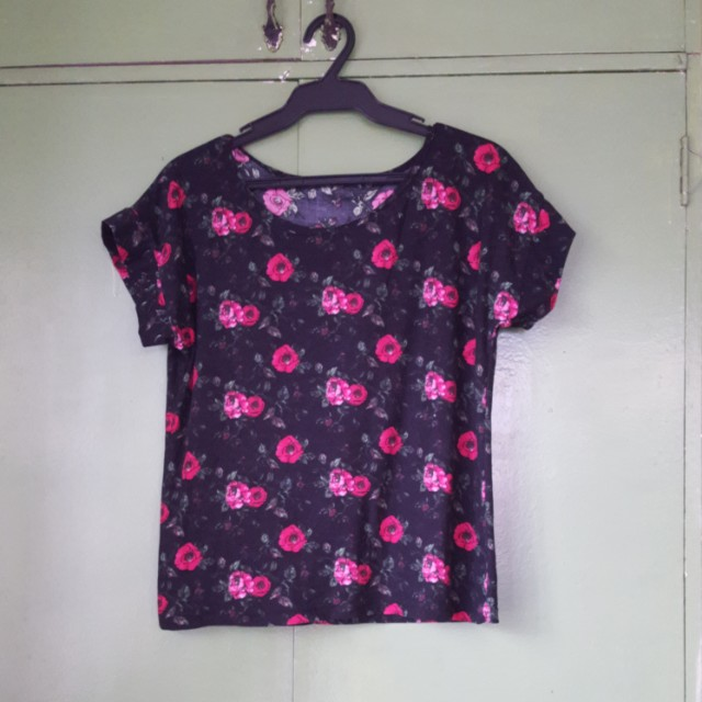 Black tees with rose design
