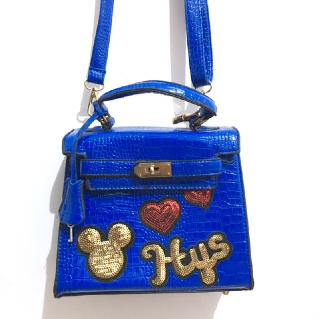 Blue croco bag