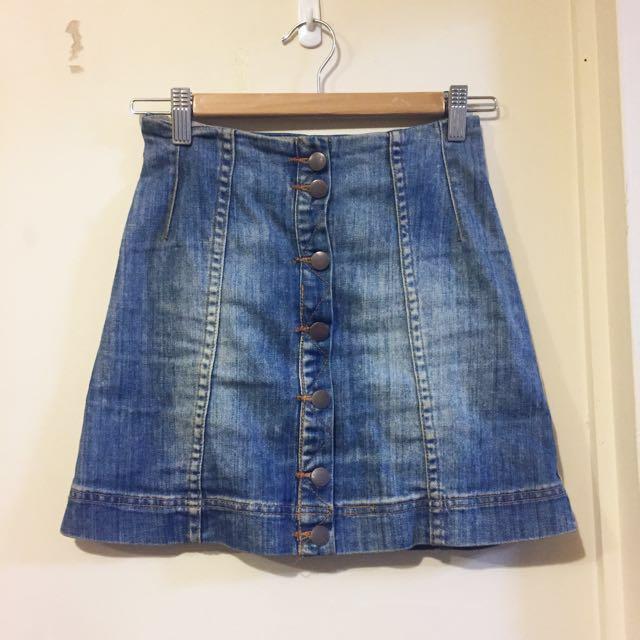Blue Denim High Waisted Skirt 4 6 8 Xs S