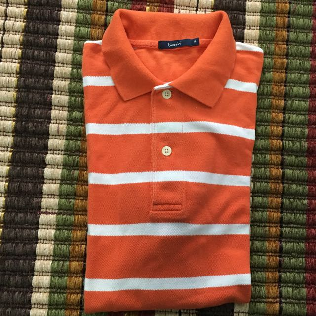 Bossini orange w collar shirt small