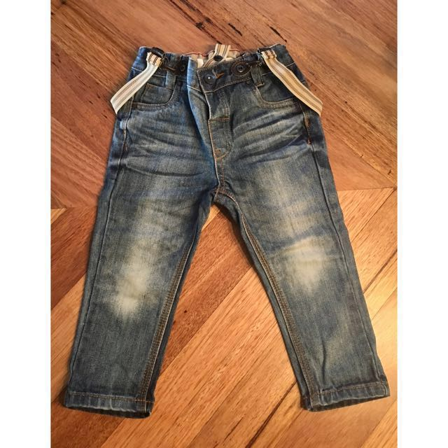 Boys ABCD Industrie Kids Denim jeans with suspenders, size 1