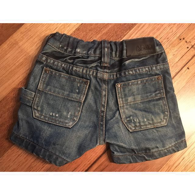 Boys ABCD Industrie Kids distressed denim shorts, size 0 ( 6-12 months )