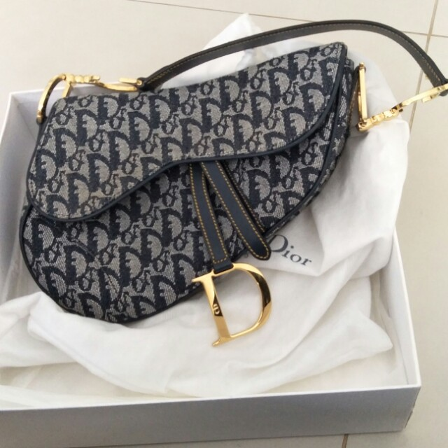 8e274e381f5 Authentic Christian Dior Saddle Bag in Navy Canvas Leather with Gold ...