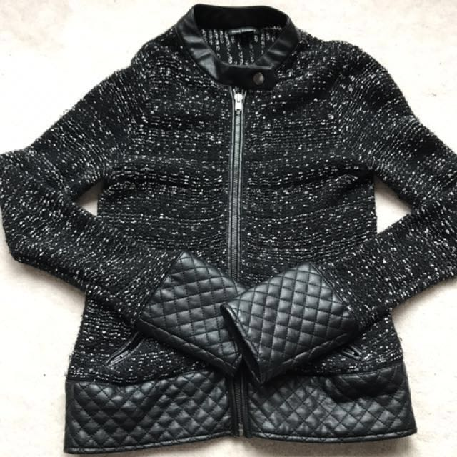Club Monaco Knitted Leather Jacket