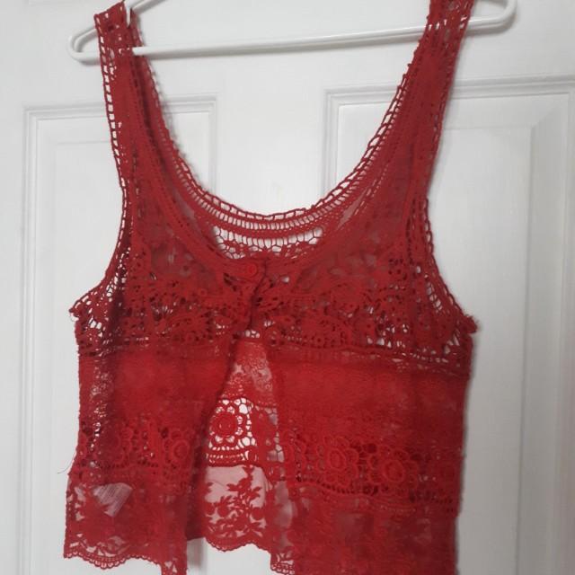 crochet red top