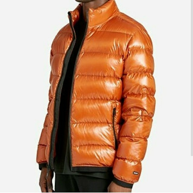 f5db47196 DKNY Men's Essential Puffer Jacket (Orange & Green), Men's Fashion ...
