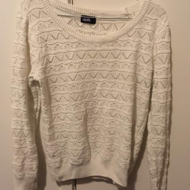 Dotti Knit Jumper White Size Large