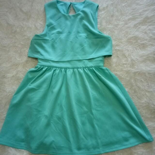 Dress mint love bonito / biru tosca / hijau tosca