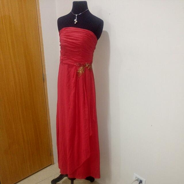 Repriced! Elegant Red Evening Gown
