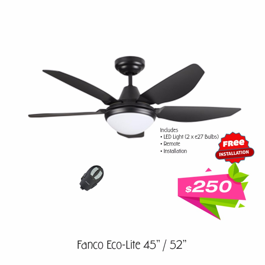 Fanco Eco Lite 45 Inch Ceiling Fan With Led Light And Remote Free Installation Furniture Home Decor On Carou