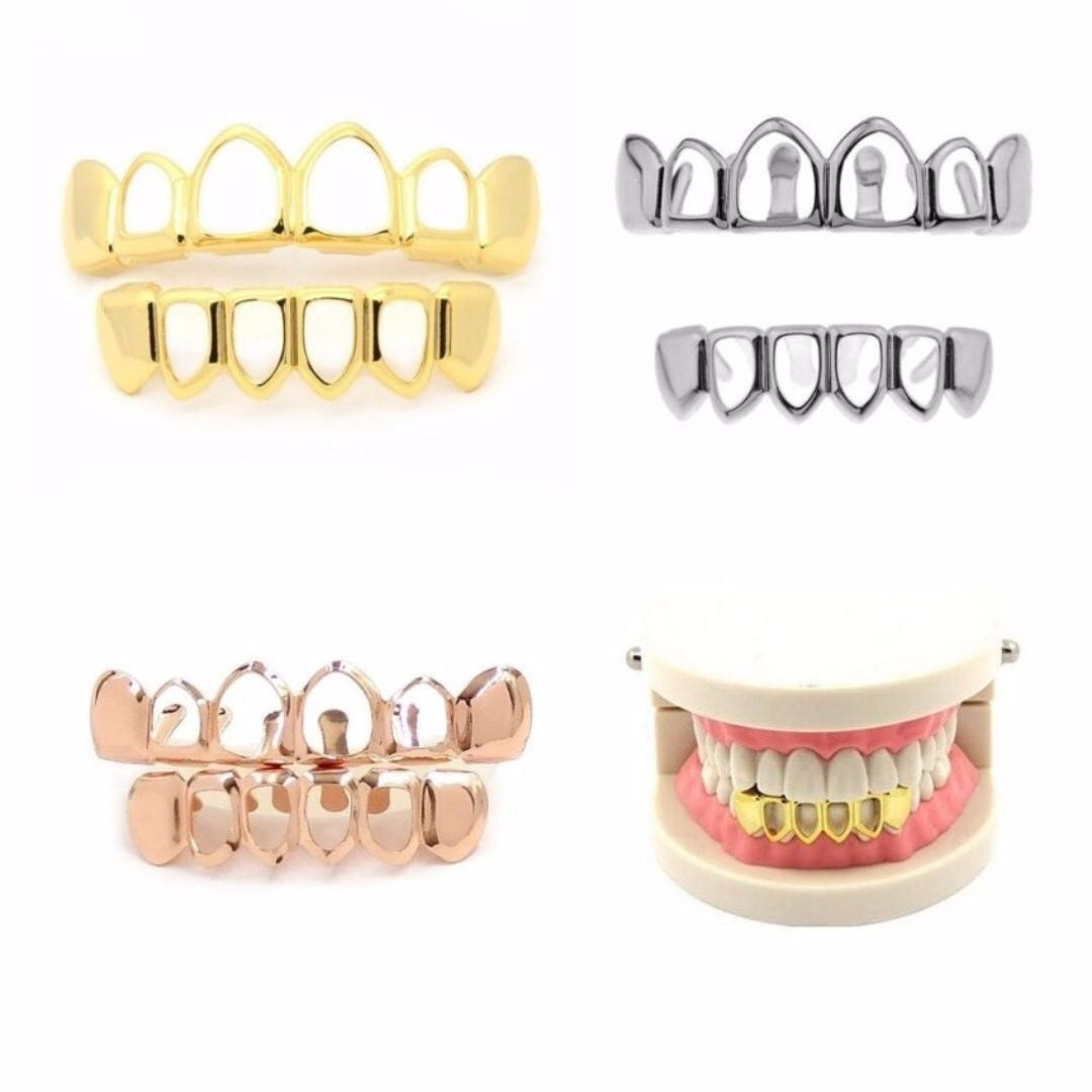 Four Open Face Fang Grillz Silver Gold Black Top Bottom Vampire Party Costume Men S Fashion Accessories On Carou