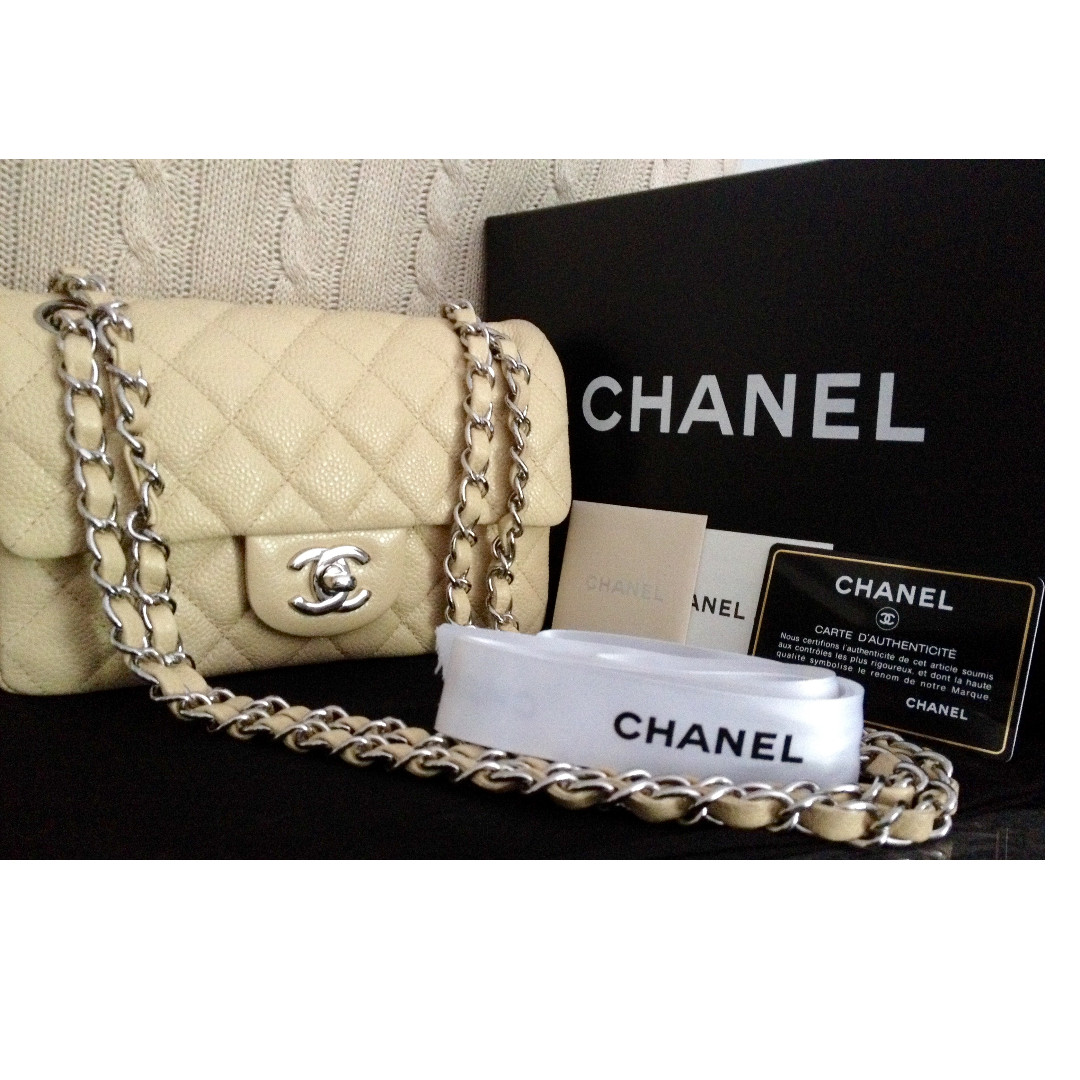 FULL SET RARE NEW 100% CHANEL Classic Mini Beige Caviar Silver Single Double Chain Flap Bag