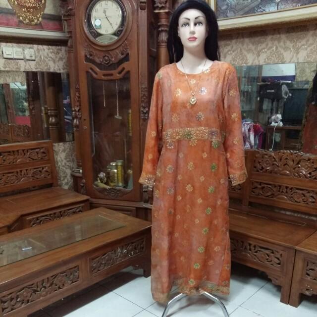 Gamis Bahan Sari India L Women S Fashion Muslim Fashion On Carousell