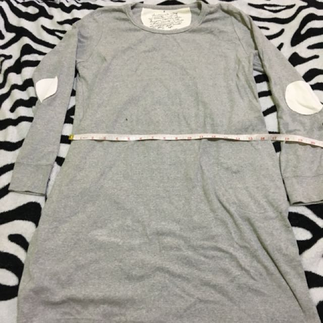 Gray Long Sleeve Long Tees/Dress