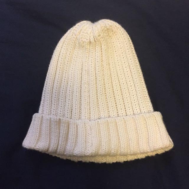 全新GU白色毛帽