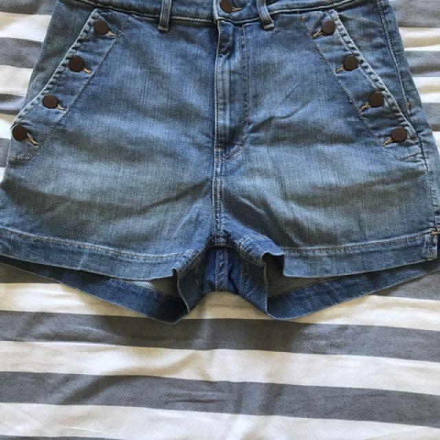 High waisted denim shorts. Size 12. NWOT