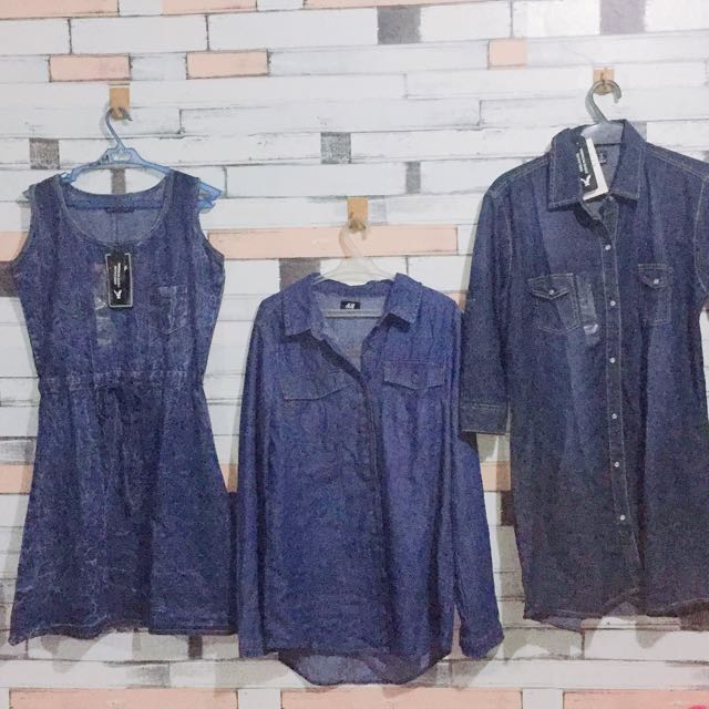 H&m zara Denim dress top