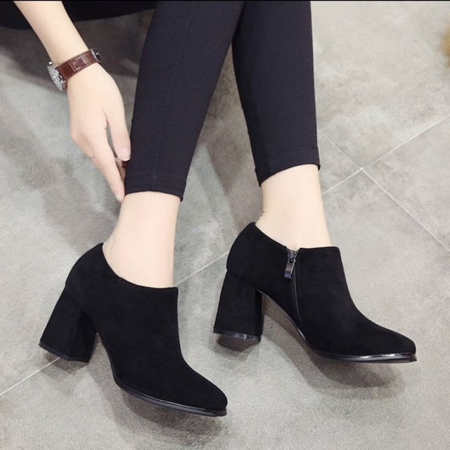 Korean Style Black Ankle Boots Bootie