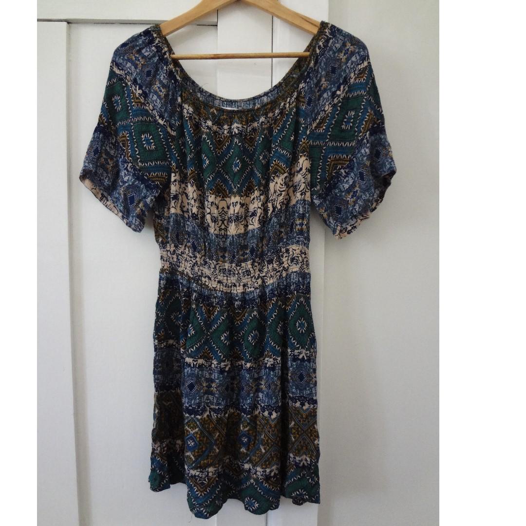 Lost Muse Off Shoulder Print Festival Dress Sz 8