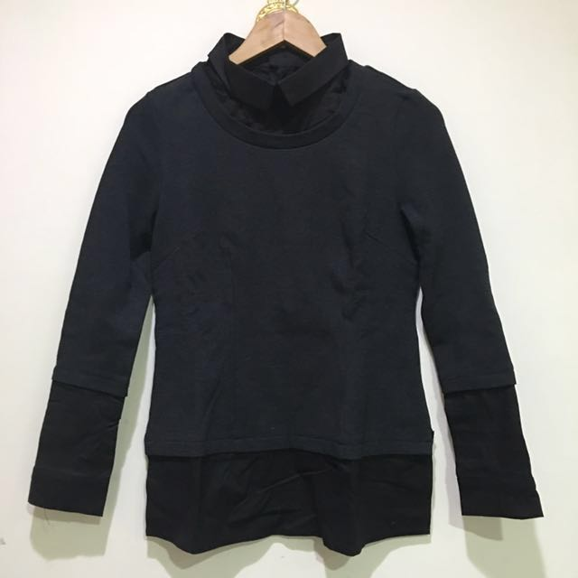 MANY 灰棉搭黑襯衫假兩件(厚)