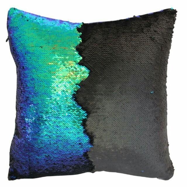 Mermaid Reversible Sequins Pillow Cover Throw Cushion Case 40x40CM