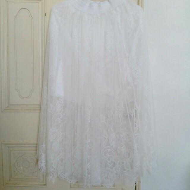 《僅試穿》MOST 純白蕾絲浪漫網紗長裙