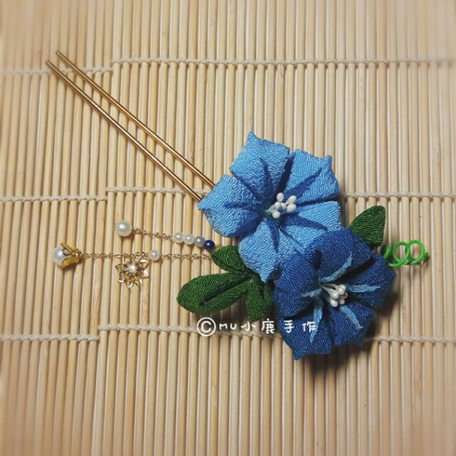 【mu小鹿手作】浴衣/和服 日本縐布和風布花髮飾 (藍色/朝顏)