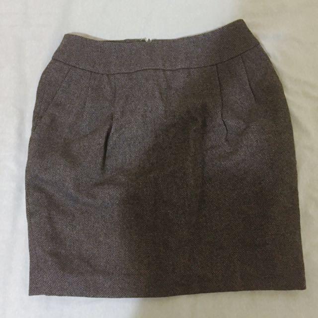 MUJI tweed wool tulip mini skirt