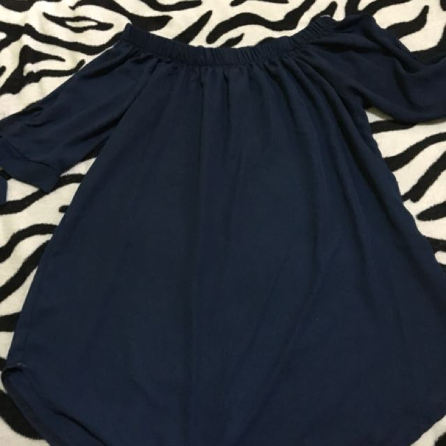 Navy Blue Silk Off Shoulder