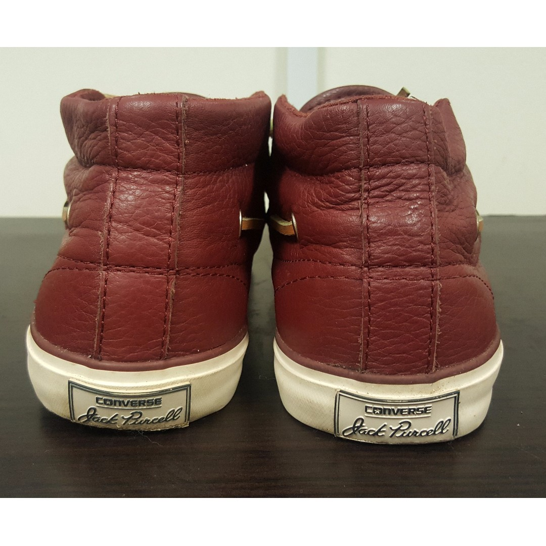 4e740a8bb72b Original Rare Converse Leather Jack Purcell Signature Mid Rise Unisex  (Maroon Colour) not bundle shoes.NEGO