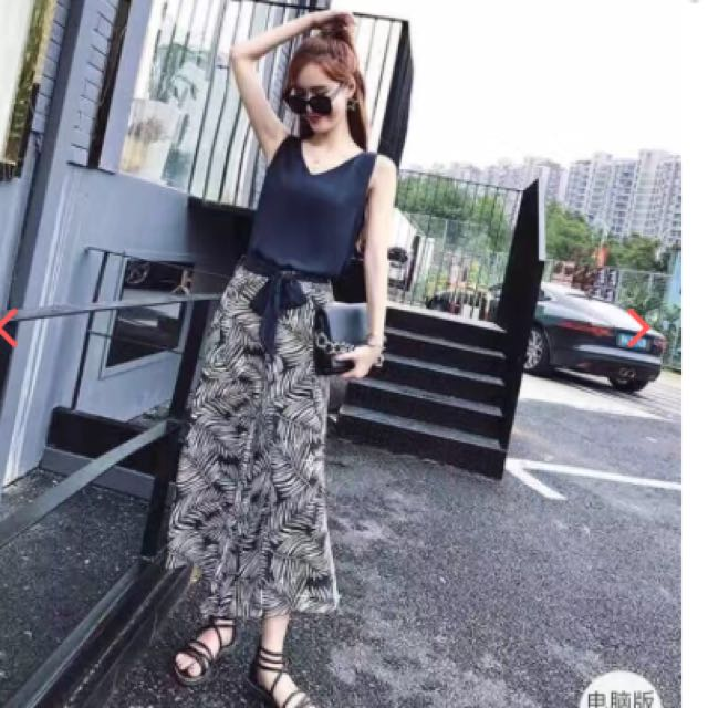 Palm Leaf Print Cullote Pants and Loose Sleeveless Top Clothing Set