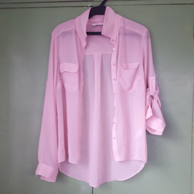 Pastel pink button up sleeves sheer polo