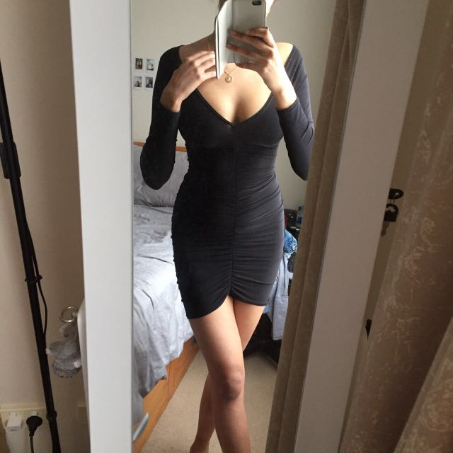 Ruched Black Body-Con Dress