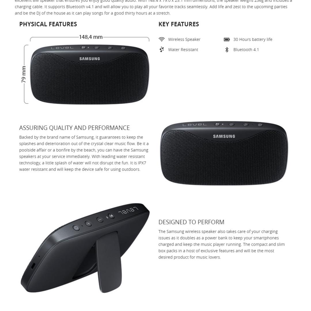 Samsung Level Box Slim Wireless Bluetooth Speaker Power Bank