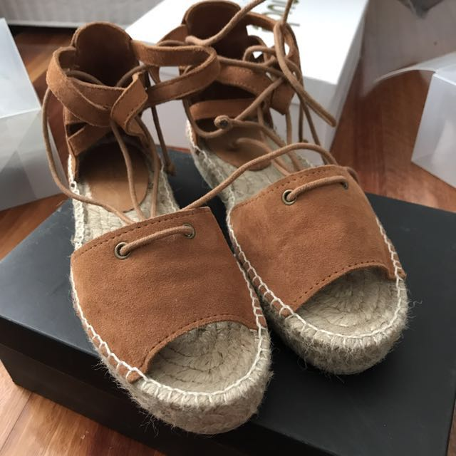 Seed Heritage Tan Suede Summer Espadrilles Size 37