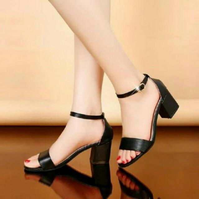 3733deef36f Sepatu Sandal Wanita High heels Kerja Pesta Ad02 Hitam