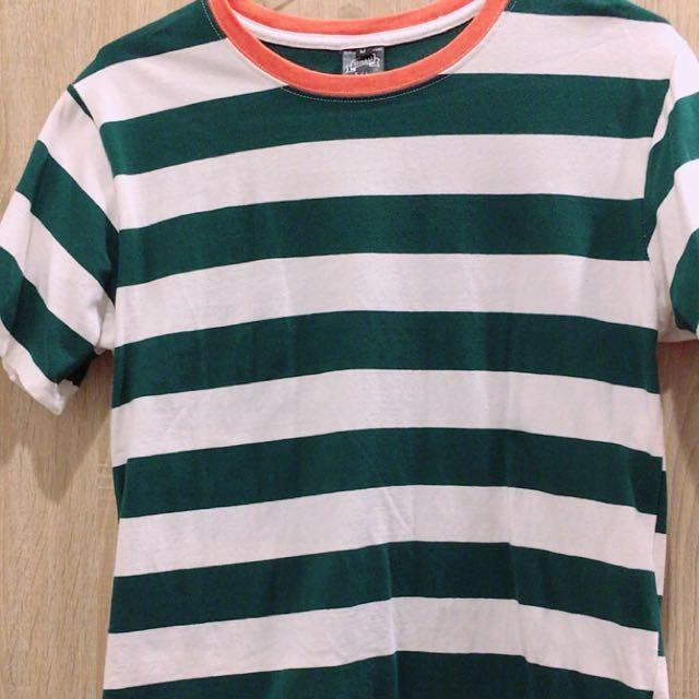可愛條紋綠白百搭圓領T恤