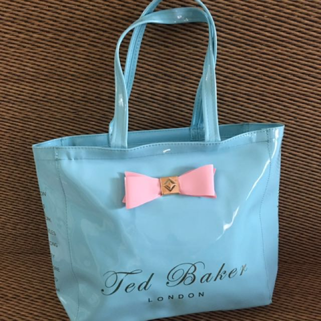 Ted Baker Baby Blue Zipper Glossy Tote bag