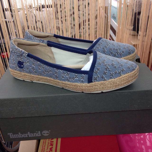 全新Timberland牛仔藍小花平底鞋6.5 郵寄掛號免運