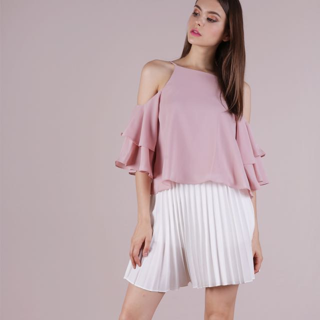9e1a834831c015 TTR Irina Cold Shoulder Ruffles Top Pale Pink XS