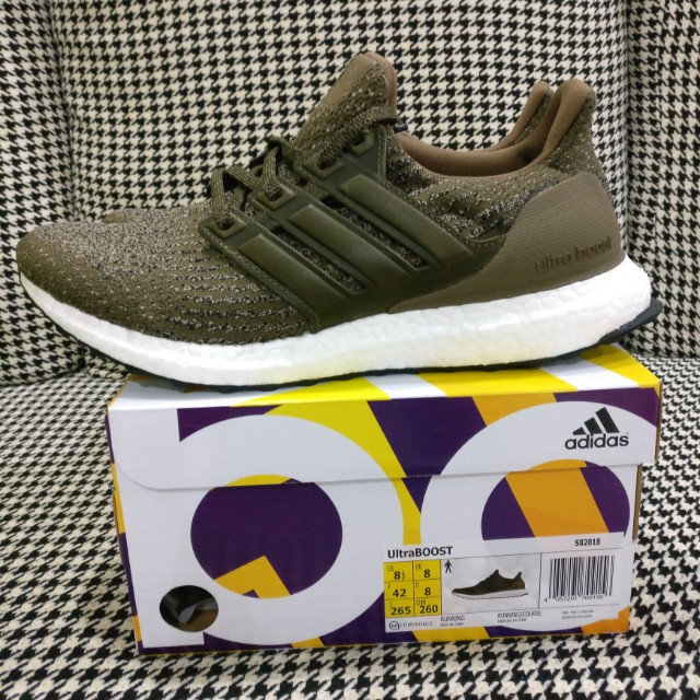 01a20b3e0a03 UK8 US8.5 Adidas Ultra Boost 3.0 LTD Trace Olive Green Leather Cage ...