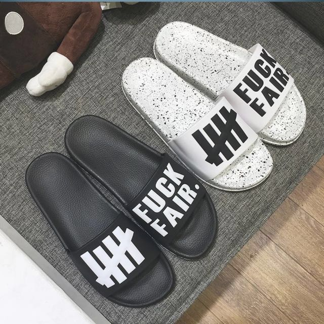 043e4c68438c Undefeated Fuck Fair Slides Black white