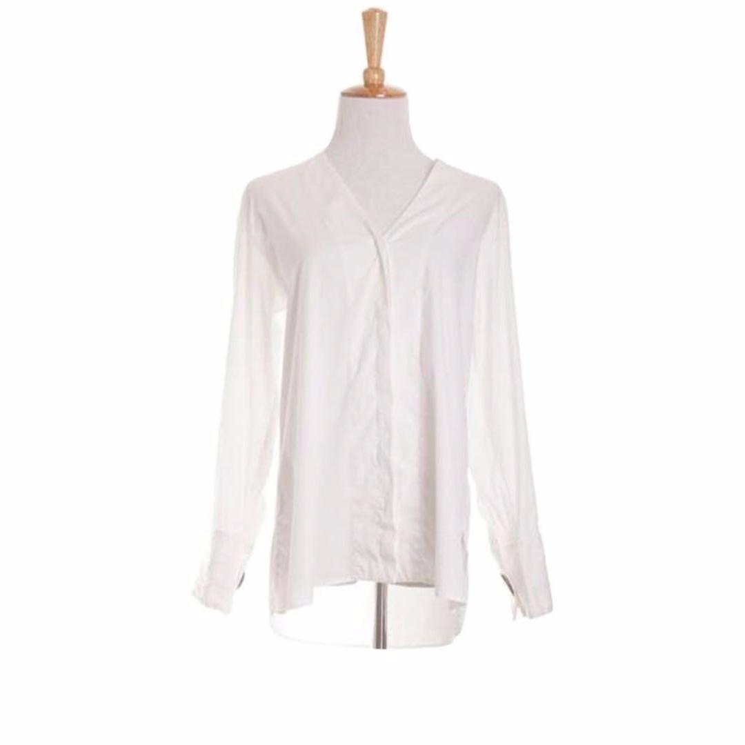 6fcc5eb2cf Zara Woman, V Neck Long Sleeve Button-Up Shirt, White, XS Size