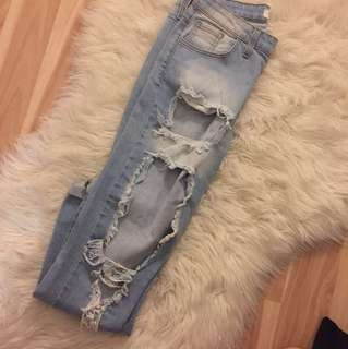 Very distressed jeans