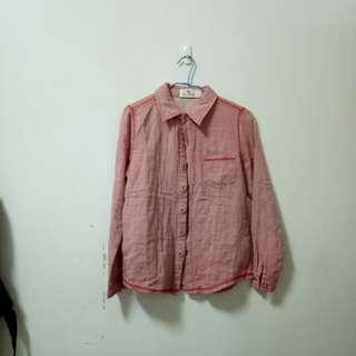 🚚 。降價。復古外縫線裸色深粉色50%襯衫